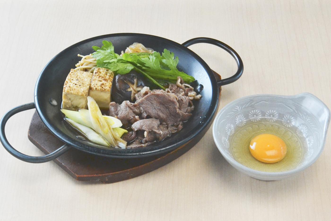 鉄鍋すき焼き定食<br />ご飯・味噌汁・香の物・ドリンク付