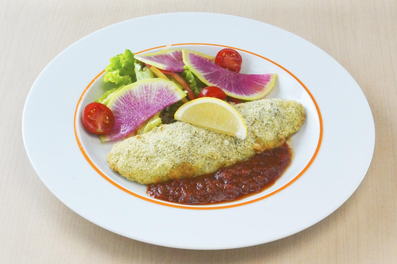 舌平目の香草パン粉焼き~トマトソース添え~<br />ライス・スープ・ドリンク付