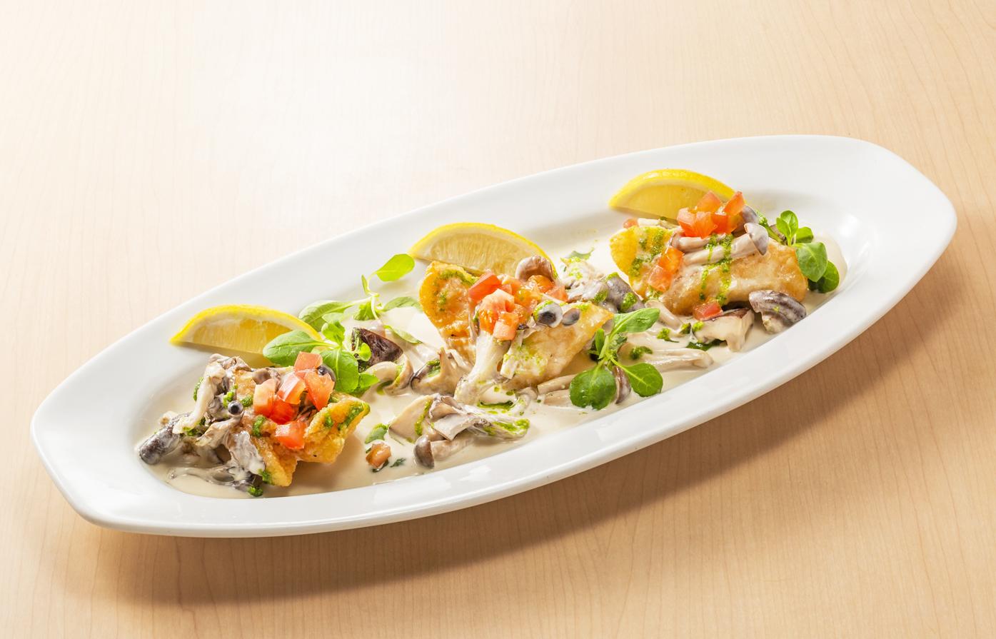 【NEW】白身魚のキノコクリームソース